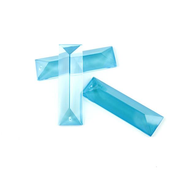 100 STÜCKE Aquamarin 22 * 76mm Ein Loch Kristall Dreieck Prisma Für Inländisches Wohnzimmer Ist Die Rolle Von Exquisite Lampe Schmuck Armaturen