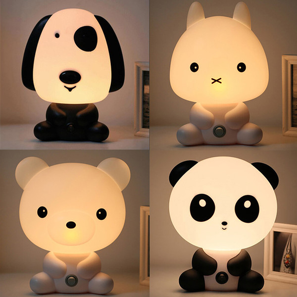 EU US Plug Baby Bedroom Lamps Night Light Cartoon Pets Rabbit Panda Pvc Plastic Sleep Led Kid Lamp Bulb Nightlight For Children