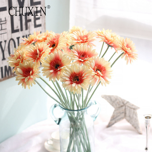 silk daisy 3pcs/lot artificial Gerbera silk daisy flowers simulation plant for home party garden hotel decoration fake flowers table decor