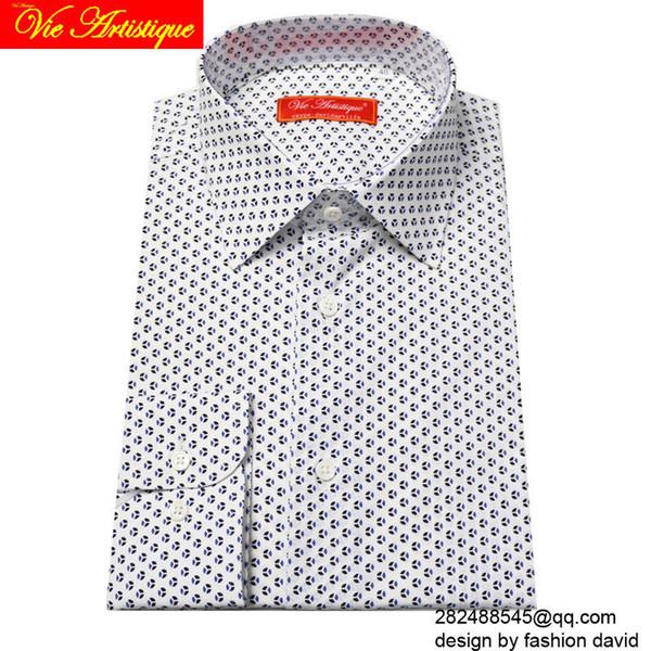 sur mesure sur mesure pour hommes sur mesure affaires floral chemises de coton articles de mariage formel blouse polka bleu blanc à pois mode fleur