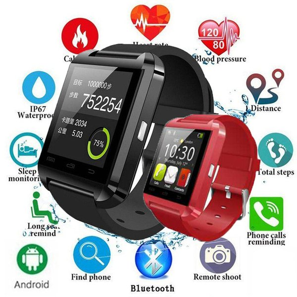 U8 Bluetooth Samartwatch Digital Sports Pedometer Watchs Clock Sync Notifier Connectivity For Android Phone Xiaomi Huawei Samsung