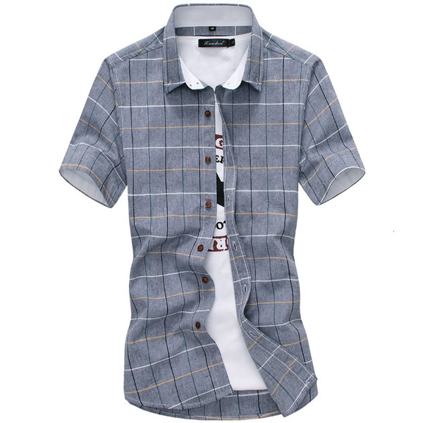 2019 new plaid shirts men fashion 100% cotton short sleeved summer casual men shirt camisa masculina mens dress shirts, White;black