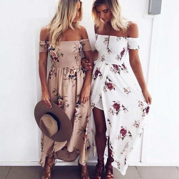 MoneRiff Women Off Shoulder Floral Print Boho Dress Fashion Beach Summer Dresses Ladies Strapless Long Maxi Dress Vestidos 5XL