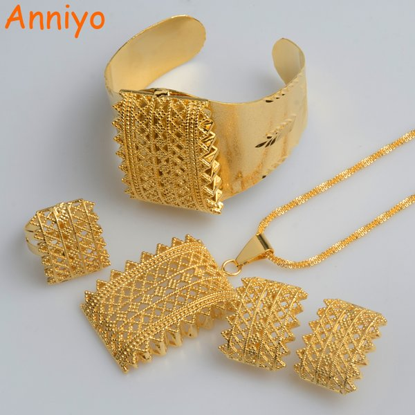 Anniyo New Ethiopian Gold Color Sets Collares pendientes Aretes Brazalete Habesha Joyería Eritrea regalos de boda # 056502 C19041501