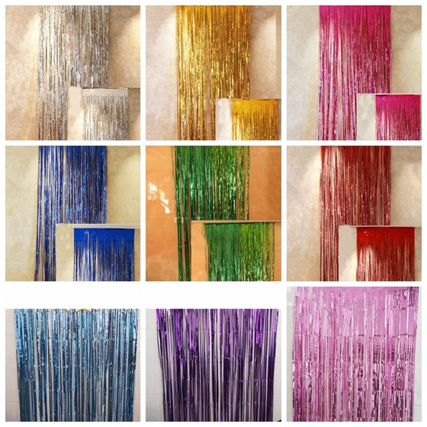 Foil Curtains Metallic Fringe Curtains Shimmer Curtain For Birthday Wedding Party Photo Booth Decorations 1 X 3m
