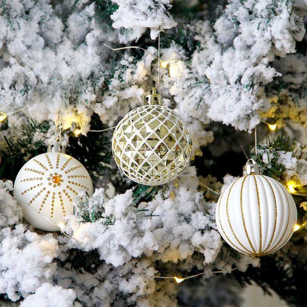 Inhoo Christmas Tree Ornaments Platinum Gold Christmas Balls Baubles 6cm Plating Xmas Party Decor Ball For Home 2019 Christmas Decorations Uk