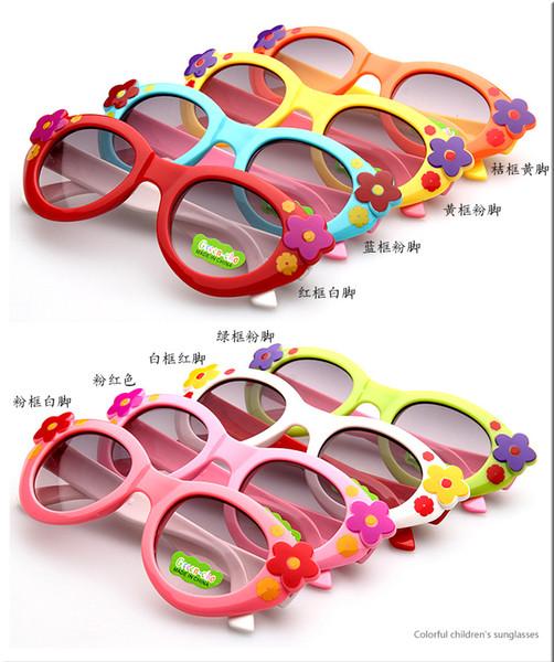 2019 Mädchen-Blumen-Sonnenbrille für Mädchen-Kind-Dekoration scherzt Mädchen-Sonnenbrille-Kind-Plastikrahmen-Sonnenbrille Freies Verschiffen