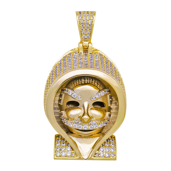 Hip Hop Gold Color Plated Iced Out Micro Pave Cubic Zircon Egyptian Pharaoh Head Copper Pendant Necklace For Men Women