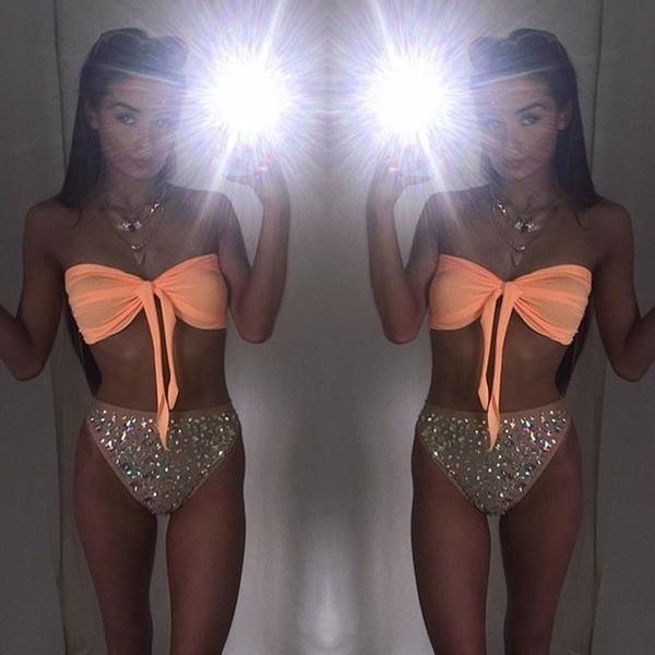 Mujeres Sexy Diamond Rhinestone Solid Bikinis Set Mujeres Traje de baño Traje de baño Baño Ropa de playa 2017 Y19072901
