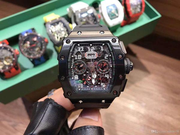 50 mm hommes luxe édition limitée montre mécanique, rm11-03 étoiles haut de gamme regarder avec montre de mode de sport coque en fibre de carbone