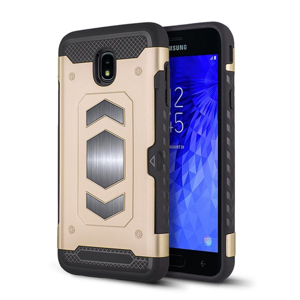 Fashion car armor magnetic mobile phone case can be inserted into the card FOR:SamsungJ4 J5 J6 J7 J8 PRIME PRO Plus ON7