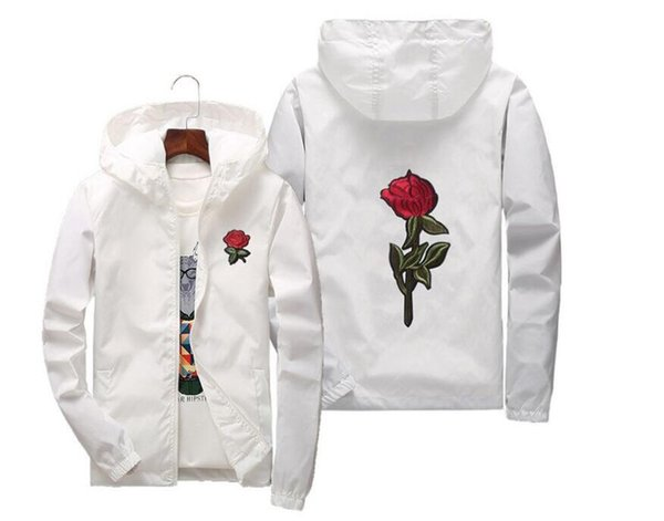 high quality Rose Jacket Windbreaker Men And Women's Jacket New Fashion White And Black Roses Outwear Coat