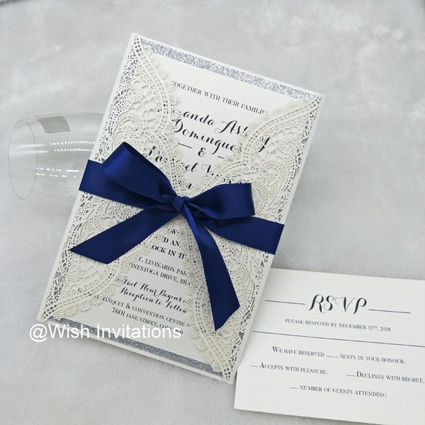 2019 Ivory Glitter Silver Lace Quinceanera Invitations with Navy Blue Ribbon Laser Cut Invitations Cards for Wedding Birthday Graduations