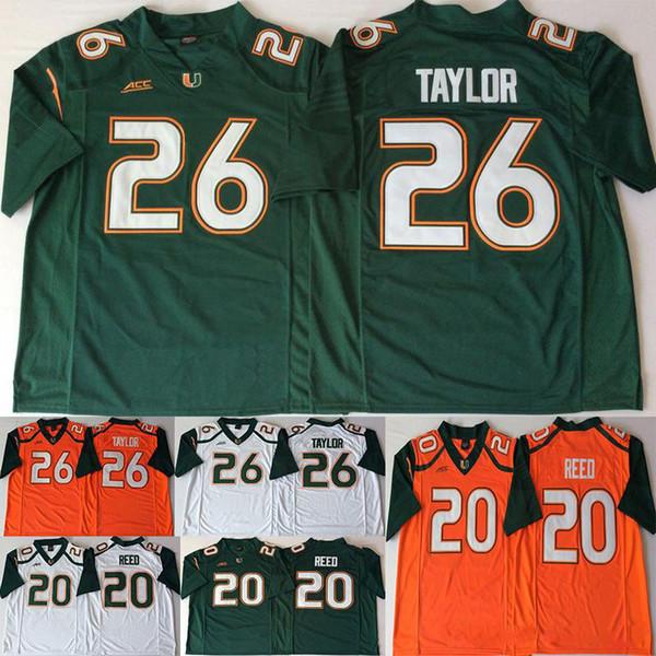 26 Sean Taylor Miami Hurricanes Jerseys 20 Ed Reed ACC Orange Green White Men College Football Jersey QF027XY