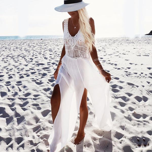 Maxi abito da donna in chiffon Abiti da donna senza maniche con laccetti sul retro in nappa Gonna da spiaggia Estate Taglia unica 43