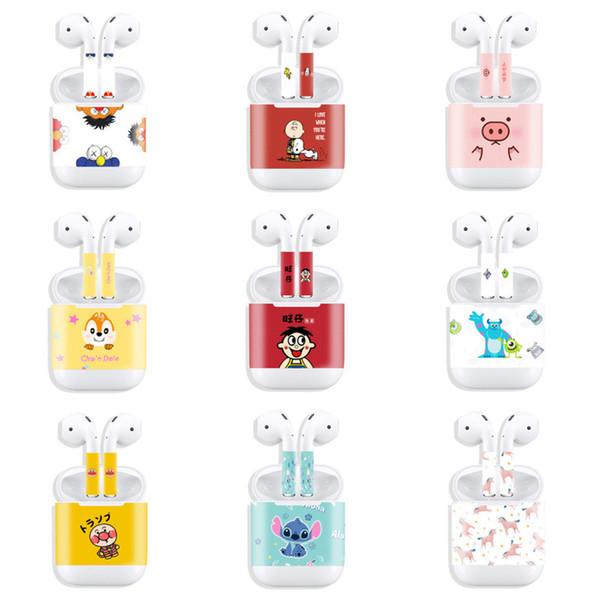 Stickers For Airpods 1 2 Cartoon Mix Color Anti-scratch Dirt-resistant Hard-waering Elegant Diverse Plastic Headset Earphone Set Stickers