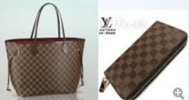 (Un set) Trasporto libero !!! stile popolare delle donne borse e portafogli N51106 caffè plaid (3 colori per scelgono)