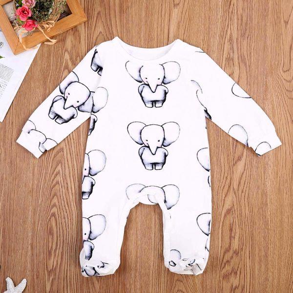 Pagliaccetto sveglio del bambino appena nato della ragazza del neonato di cotone Elephant Stampa maniche lunghe pagliaccetto tuta del bambino unisex vestiti Outfits 0-2T