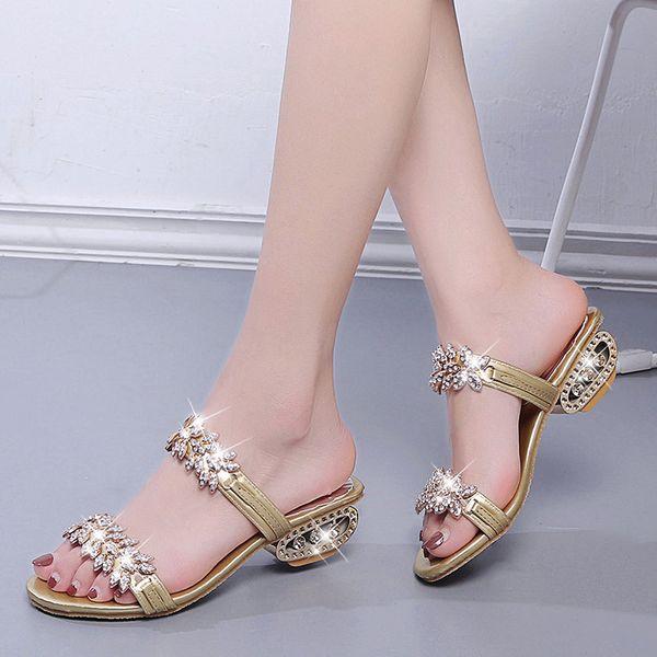 Designer shoes ladies luxury 2019 ladies casual open toe high heel rhinestone slippers summer sandals size 34-41 K0102