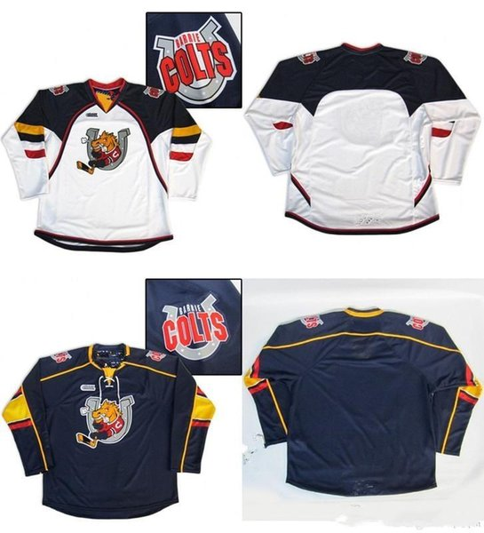 Personalisierte OHL Barrie Colts Custom Mens Damen Kinder Top Qualität Eishockey Günstige Trikots Goalit Cut Custom Irgendein Name Any NO. Trikots
