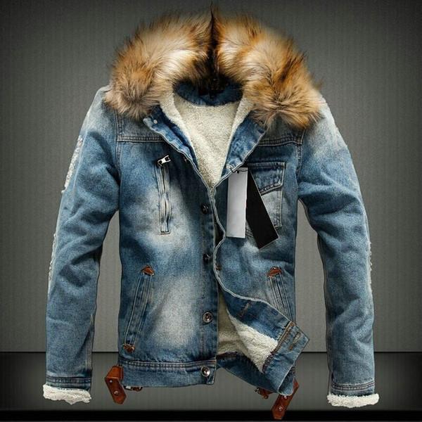 New 2018 Fur collar Men Casual Denim Jacket Winter Men Parkas Casual Denim Jacket Thick
