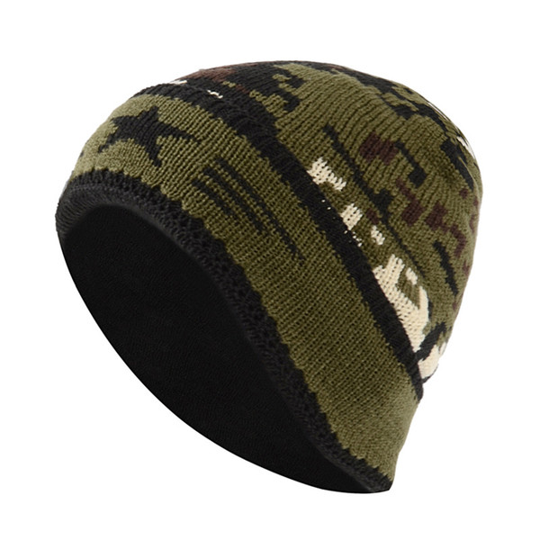 Casual unisex camouflage autumn and winter knitted and wool hats wild warm earmuffs caps tide caps