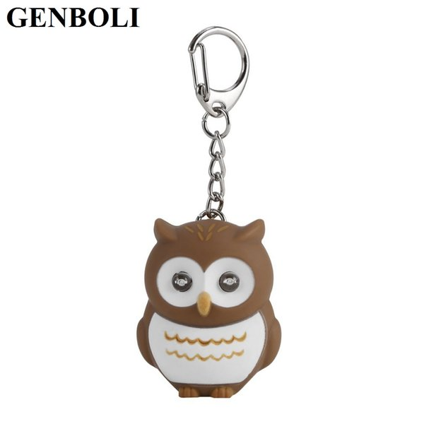 Hot! Jewelry Trinket Cute Owl Key Chains With Sound LED Lighting Keychain Bag Charm Car Pendant Key Ring Holder whosale