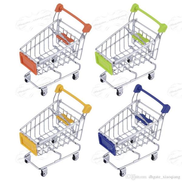 Mode Mini Supermarkt Hand Trolleys Mini Warenkorb Desktop Dekoration Aufbewahrungsbox Handyhalter Baby Spielzeug