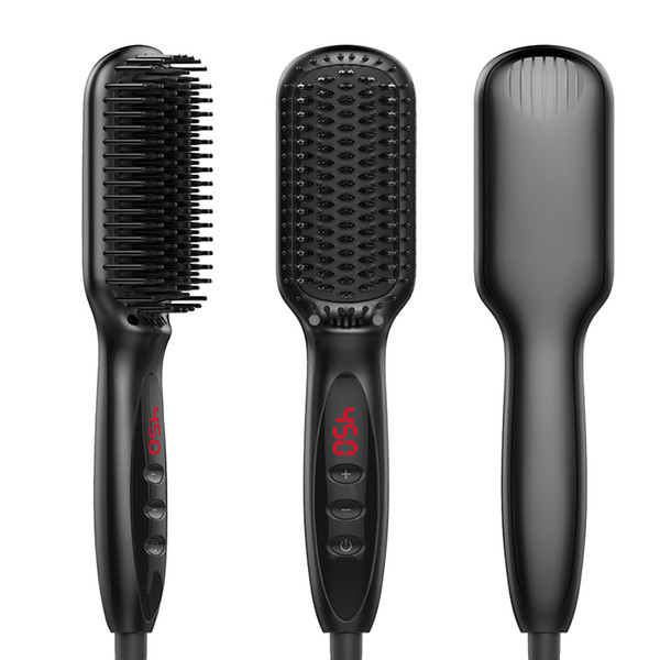 Ionic cabelo Straightener escova Irons Comb Salon rápido Calor Cerâmica Alisamento escova rápida Beard Straightener PTC rápido Aqueça