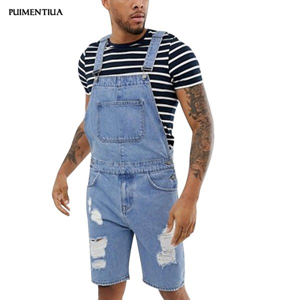 Puimentiua 2019 Mens Bib Overalls Shorts Lightweight Casual Loose Fit Walkshort Jumpsuit Button Denim Rompers Summer Male Solid