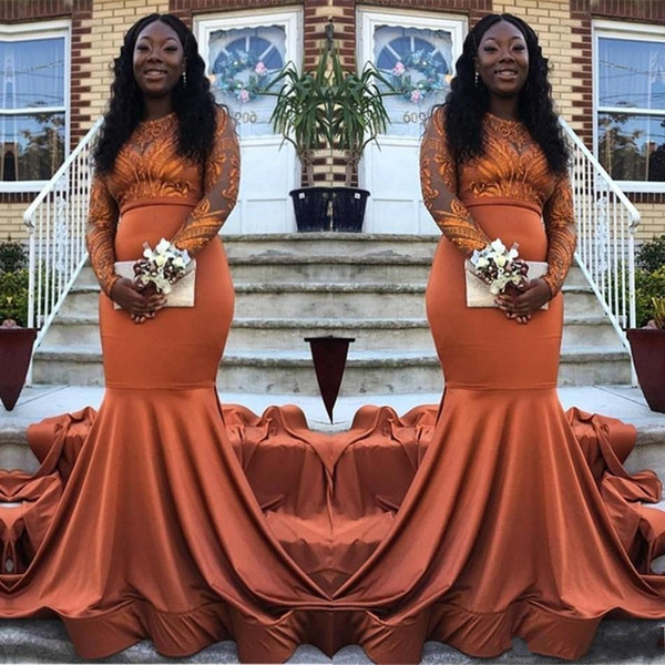 2019 neue sexy orange meerjungfrau abendkleider spitzen applikationen mit langen ärmeln arabisch satin schwarz mädchen sweep zug plus size party prom kleider