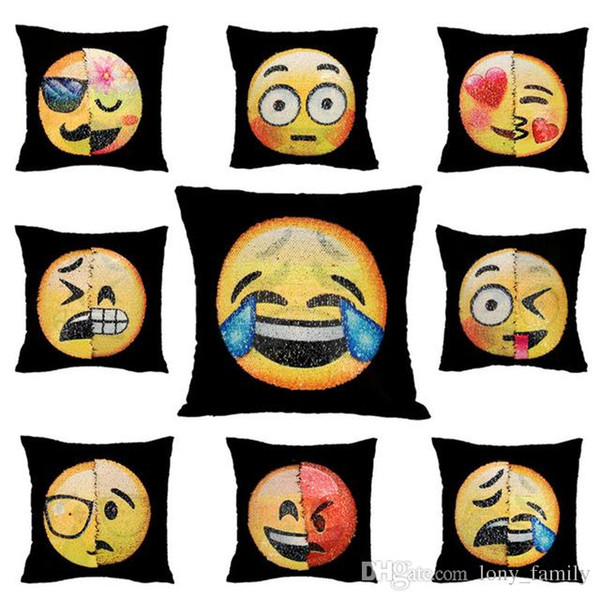Funny 40*40cm Emoji DIY Sequin Throw Chair Pillowcase Square Hand Sliding Changing Face Pillow Cars Bedroom Seat