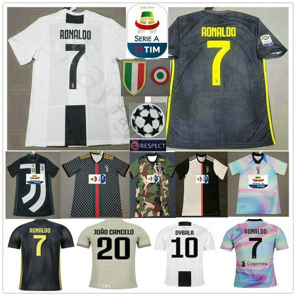 3ebabdcdd RONALDO JUVENTUS Soccer Jerseys 2019 RONALDO #7 BUFFON 10 DYBALA MANDZUKIC  Custom 19 20 Home Away Third Men Women Kids Youth Football Shirt