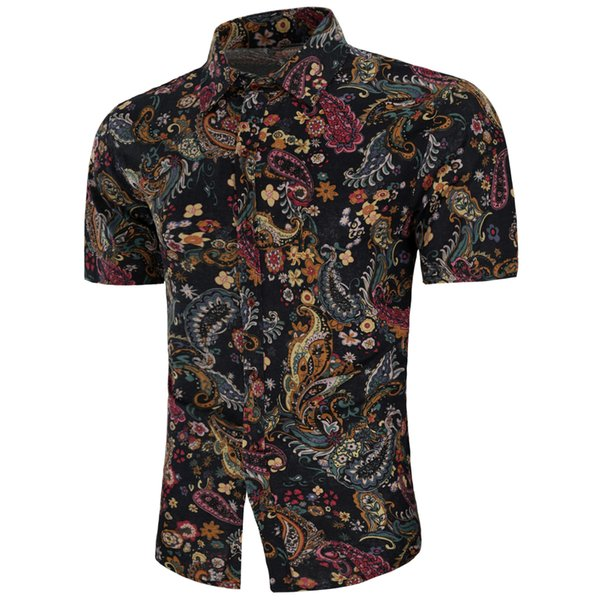 Venta al por mayor para hombre Camisa de vestir con estampado floral, manga corta, vestidos Slim Fit camisa Chemise Homme Camisas