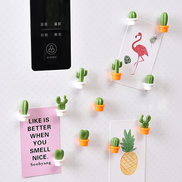 Adesivi creativi del frigorifero del cactus 6pcs Autoadesivo magnetico del messaggio Magnete che fissa il fermaglio del frigorifero della cucina della casa decorati