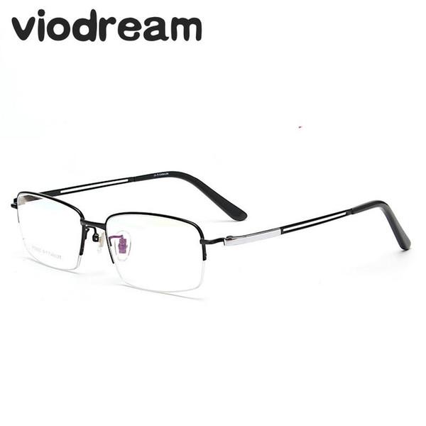 Viodream Men Pure Titanium Fashion Half Spectacle Frame New Large Frame Prescription Eyewear Eyeglasses Frames Oculos De Grau