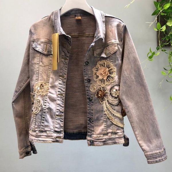 2019 Spring Fashion heavy sequins jeans coat three-dimensional flower beaded elastic denim jacket women