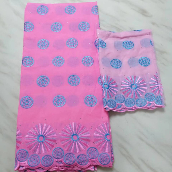 5Yards/PC hot sale pink african cotton fabric with nice pattern embroidery and 2yards blouse net lace set for dress BC54-10