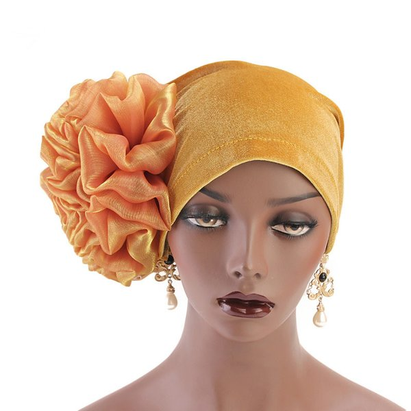 Women Velvet Flower Turban Hats Cancer Chemo Beanies Cap Bandana Hijab Pleated Wrap Head Cover Hair Accessories