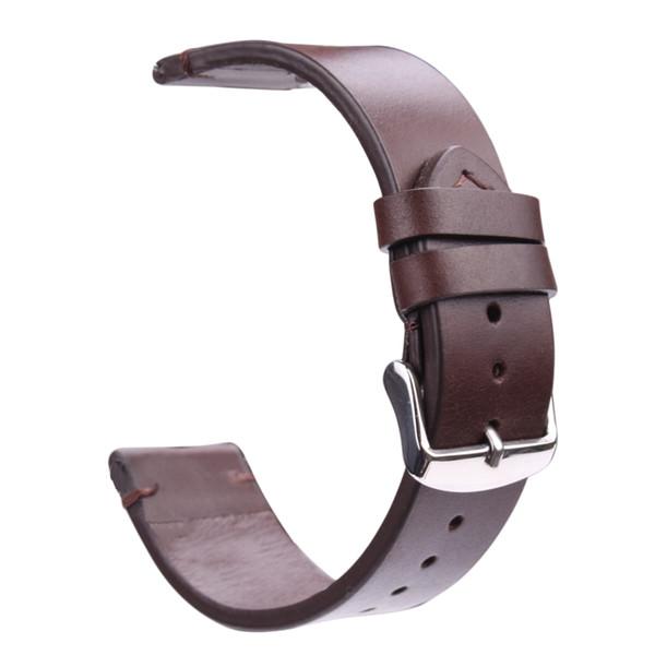 Oil Wax Genuine Leather Watch Band 18mm 20mm 22mm Light Brown Dark Brown Retro Watchband Strap With Steel Buckle Spring Bar
