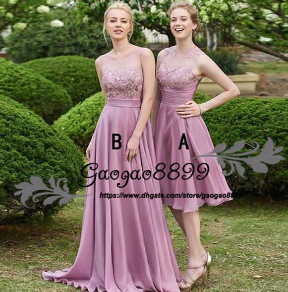 2019 summer Bridesmaid Dresses Bohemian Jewel sheer neck sweep train Long Chiffon Beach Garden Wedding Guests Maid Of Honor Gowns cheap