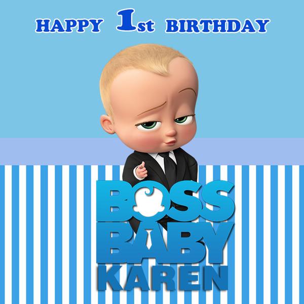 Compre Sensfun Boss Baby Shower 1er Fondo De Fiesta De Cumpleaños Para Niños Fondos De Tema De Rayas Blancas Y Azules Para Photo Studio 7x5ft A 4086