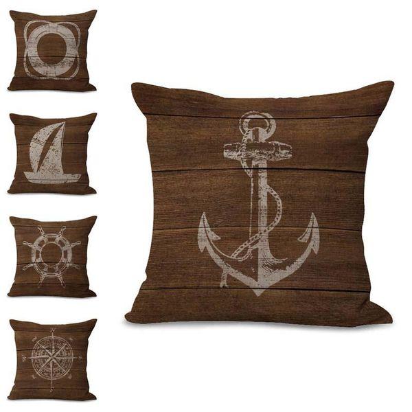 Boat Anchor Compass Life Buoy Pillow Case Cushion Cover Linen Cotton Throw Pillowcases Sofa Decorative PW683 DROP SHIP 300683