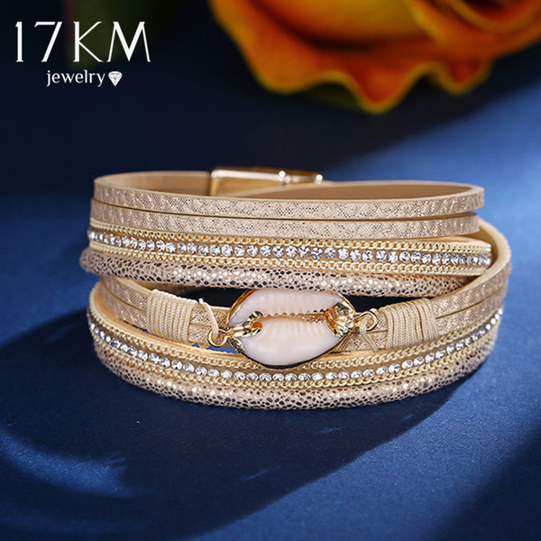 17KM Or Shell En Cuir Bracelets Pour Femmes Plusieurs Couches Charme Large Wrap Bracelet Bracelet 2019 Mode Bijoux D'amitié