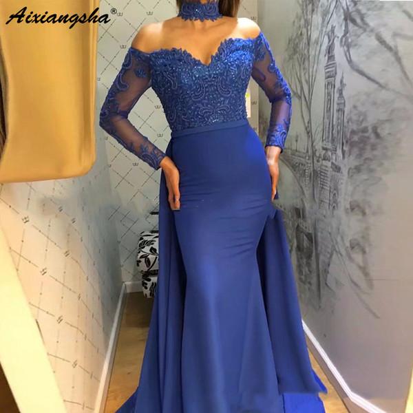 Royal Blue Chiffon Schatz-Nixe-Abend-Kleider 2019 lange Hülsen-Spitze-islamisch Dubai Saudi Arabisch lange formales Abendkleid