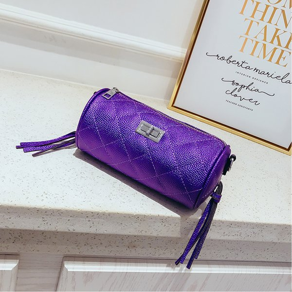 Shoulder Bag For Women 2019 Small Barrel-shaped Bag High Quality Circular Design Women's Handbags Messenger Bag Glossy Metal