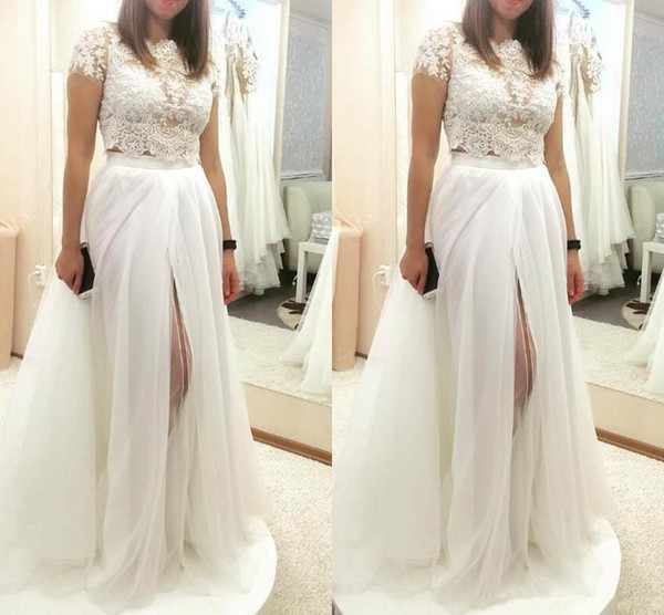 2019 Short Sleeves Lace Wedding Dresses Two Pieces Side Split Long Tulle Wedding Party Gowns for Bride