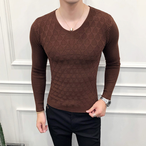 8db622a5878 2019 Mens V Neck Knitted Man Pullover Brown Stylish Sweaters Mens Black  Sweaters Winter Fashion Ropa De Hombre De Invierno Slim Fit From Gloriana,  ...