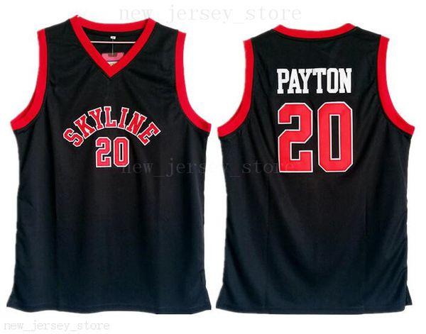 Lycée Gary Payton Jersey 20 Hommes Noir Basketball Skyline Maillots Pas Cher Vente Top Qualité Université Pour Les Fans De Sport Respirant