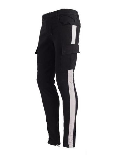 Moda para hombre pantalones estilo jeans rotos Rayado flaco slim fit algodón Denim